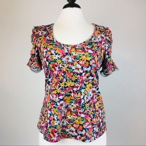 Maeve Anthro Floral Ruched Sleeve Tee Shirt